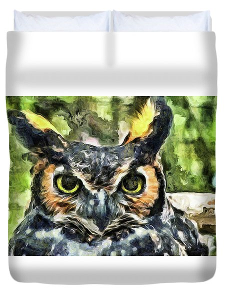 Duvet Cover featuring the mixed media Night Owl by Trish Tritz