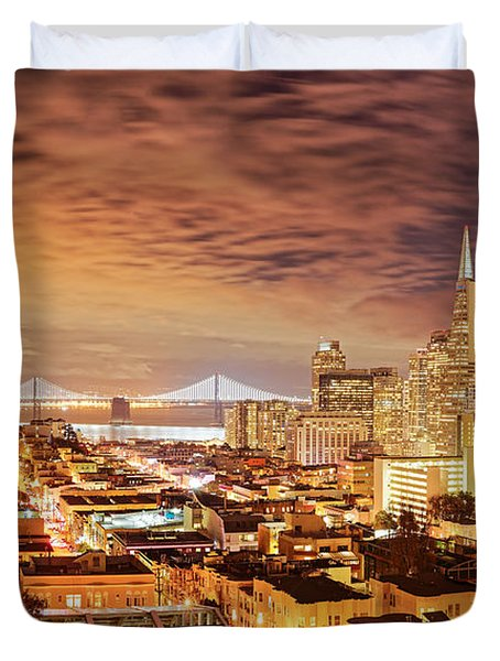 Night Panorama Of San Francisco And Oak Area Bridge From Ina Coolbrith Park - California Duvet Cover