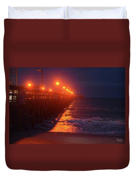 Night Pier Duvet Cover by Gordon Mooneyhan