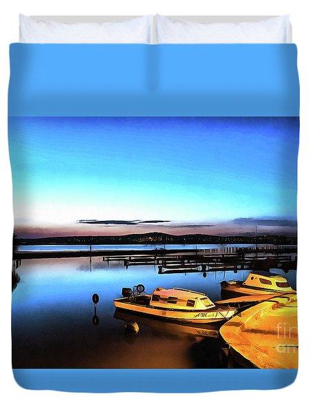 Night Port Painting Duvet Cover