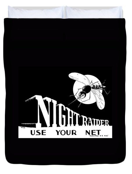 Night Raider Ww2 Malaria Poster Duvet Cover by War Is Hell Store