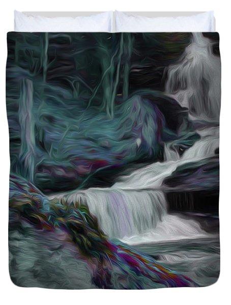 Night Rainbow Waterfall Duvet Cover