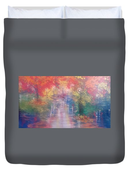 Duvet Cover featuring the painting Night Reflections 4 by Judi Goodwin