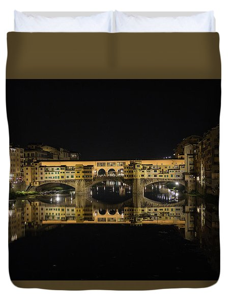 Night Reflections Of The Ponte Vecchio Duvet Cover