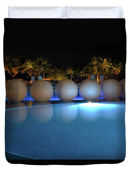 Duvet Cover featuring the photograph Night Resort by Shane Bechler