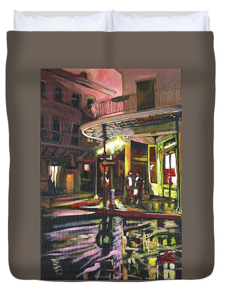 Duvet Cover featuring the painting Night Shift by Amzie Adams