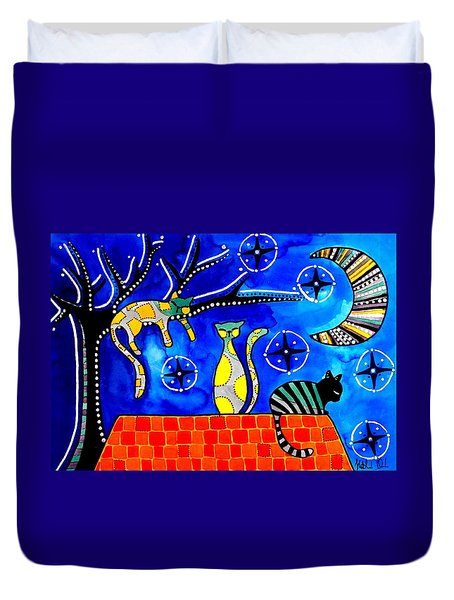 Night Shift - Cat Art By Dora Hathazi Mendes Duvet Cover
