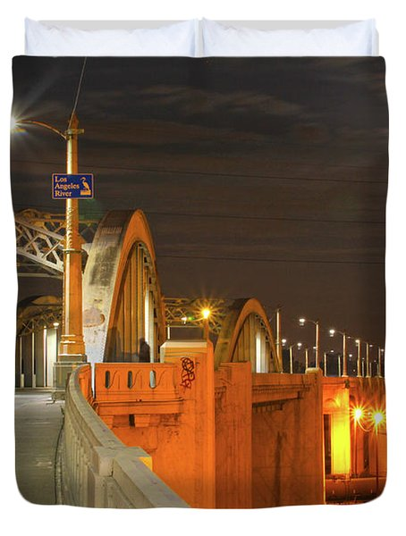 Night Shot Of The Los Angeles 6th Street Bridge And Supermoon #1 Duvet Cover