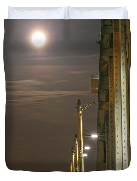Night Shot Of The Los Angeles 6th Street Bridge And Supermoon #3 Duvet Cover
