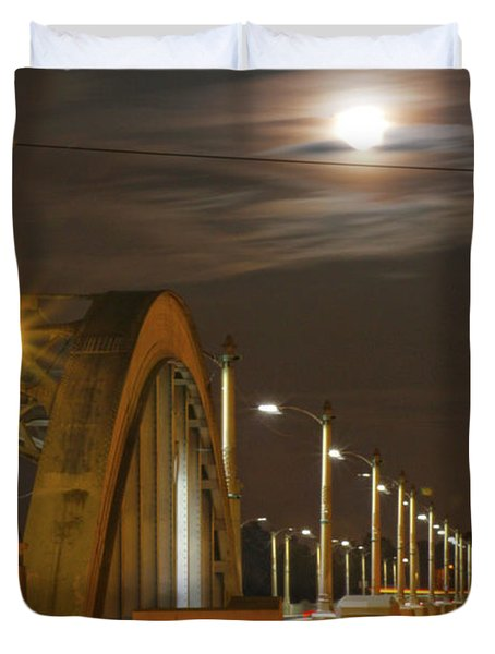 Night Shot Of The Los Angeles 6th Street Bridge And Supermoon #4 Duvet Cover