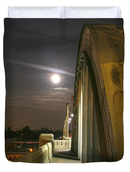 Night Shot Of The Los Angeles 6th Street Bridge And Supermoon #6 Duvet Cover