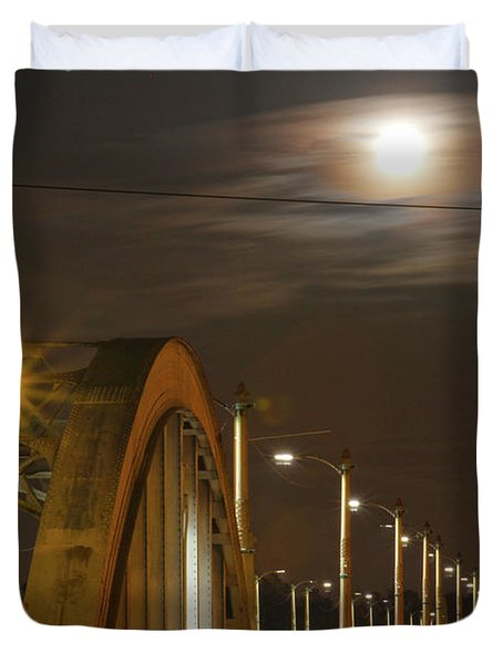 Night Shot Of The Los Angeles 6th Street Bridge And Supermoon #7 Duvet Cover