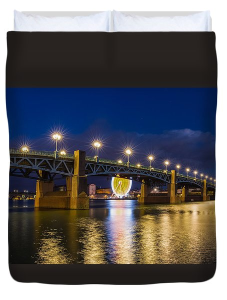 Duvet Cover featuring the photograph Night Shot Of The Pont Saint-pierre by Semmick Photo