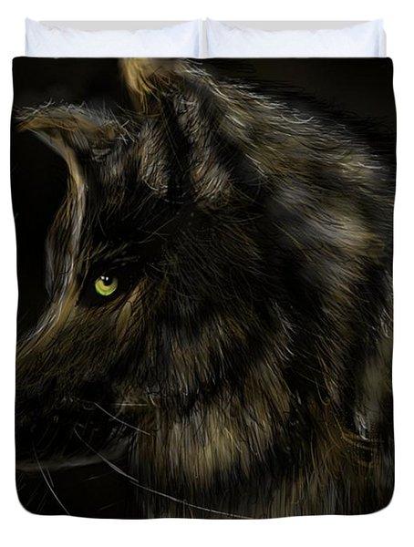 Night Silent Wolf Duvet Cover