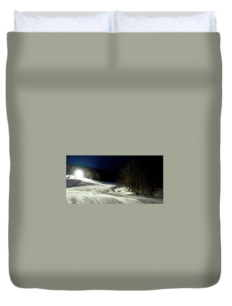 Duvet Cover featuring the photograph Night Skiing At Mccauley Mountain by David Patterson