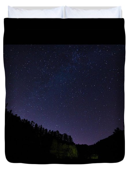 Night Sky Over The Black Hills Duvet Cover