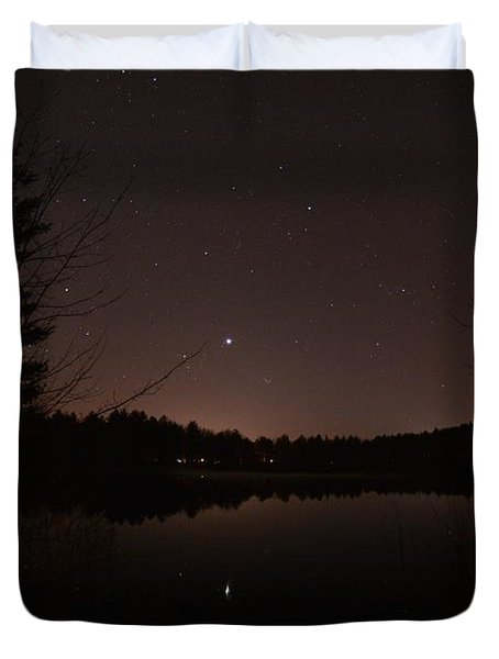 Night Sky Over The Pond Duvet Cover
