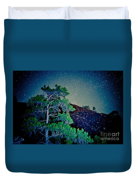 Night Sky Scene With Pine And Stars Artmif.lv Duvet Cover