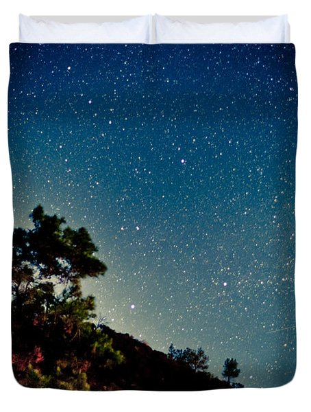 Night Sky Scene With Pine And Stars Duvet Cover