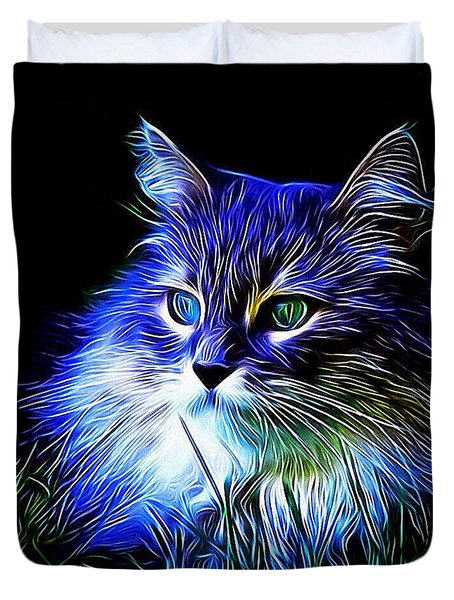 Duvet Cover featuring the photograph Night Stalker by Kathy Kelly