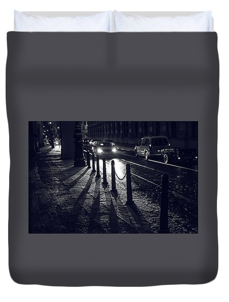 Duvet Cover featuring the photograph Night Street Of Prague by Jenny Rainbow