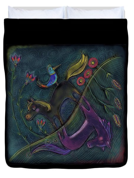 Duvet Cover featuring the painting Night Time Dichotomy by Marti McGinnis