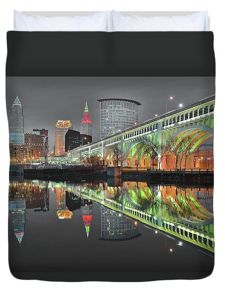 Duvet Cover featuring the photograph Night Time Glow by Frozen in Time Fine Art Photography