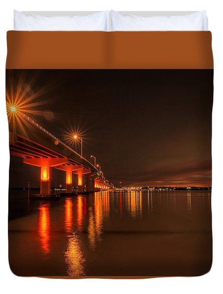 Night Time Reflections At The Bridge Duvet Cover
