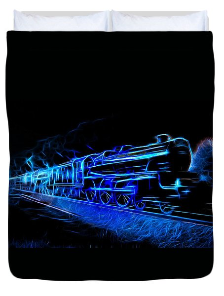 Duvet Cover featuring the photograph Night Train To Romance by Aaron Berg