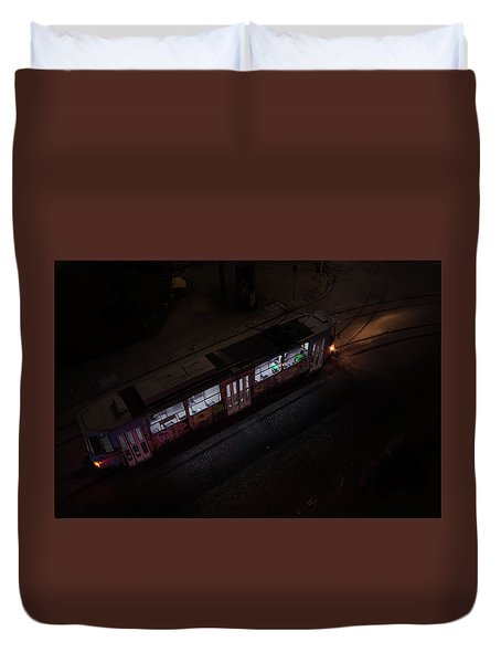 Night Tram In Sofia Duvet Cover