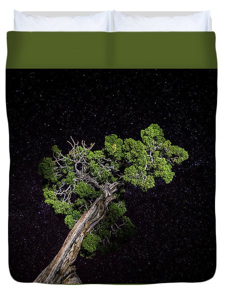 Duvet Cover featuring the photograph Night Tree by T Brian Jones
