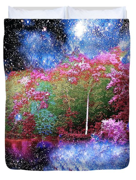 Night Trees Starry Lake Duvet Cover by Saundra Myles