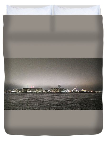 Night View Ocean City Downtown Skyline Duvet Cover