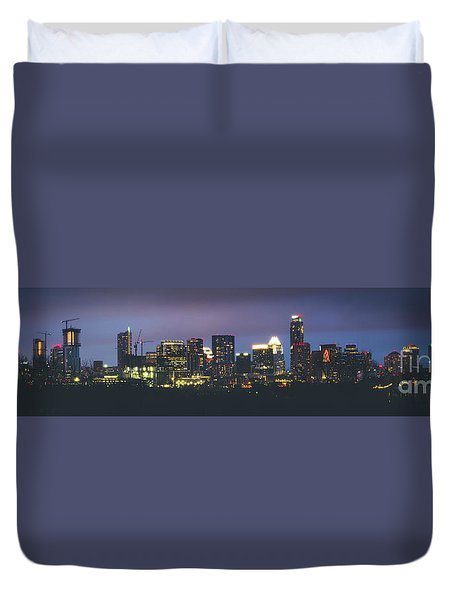 Night View Of Downtown Skyline In Winter Duvet Cover