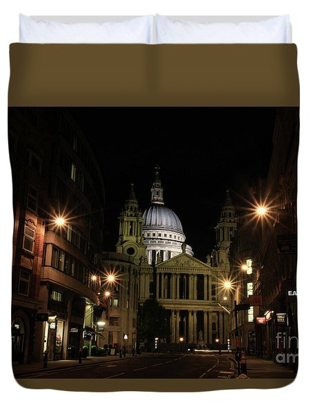 Night View Of St Pauls Cathedral  Duvet Cover
