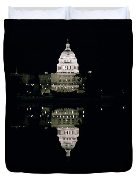Night View Of The Capitol Duvet Cover by American School