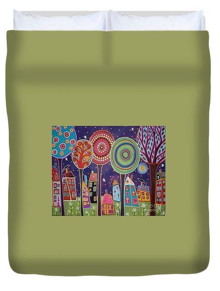 Night Village Duvet Cover