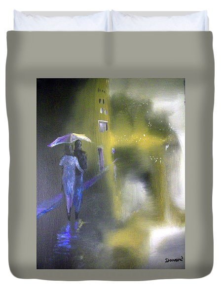 Duvet Cover featuring the painting Night Walk In The Rain by Raymond Doward