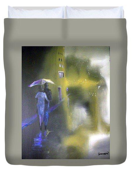 Night Walk In The Rain Duvet Cover by Raymond Doward