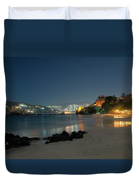 Duvet Cover featuring the photograph Night Walk On La Ropa by Jim Walls PhotoArtist