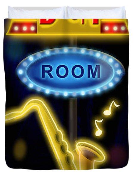 Nightclub Sign Boom Boom Room Duvet Cover