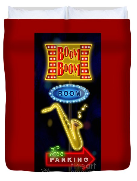 Nightclub Sign Boom Boom Room Duvet Cover