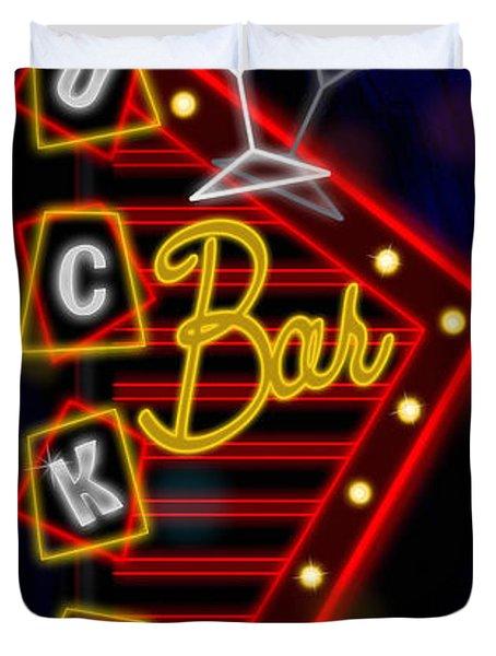 Nightclub Sign Luckys Bar Duvet Cover