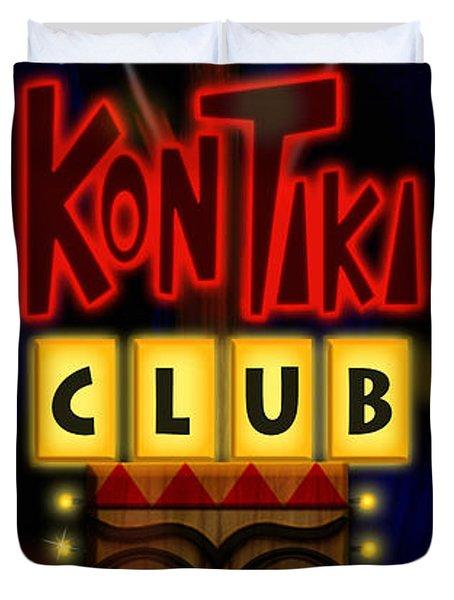 Nightclub Sign Rays Kon Tiki Club Duvet Cover