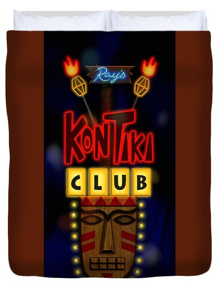 Nightclub Sign Rays Kon Tiki Club Duvet Cover