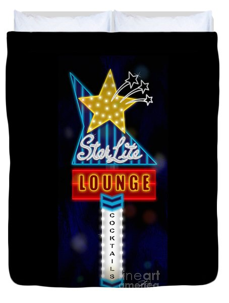 Nightclub Sign Starlite Lounge Duvet Cover