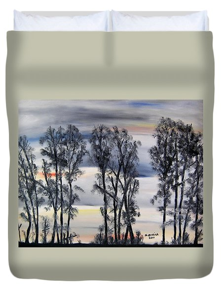Duvet Cover featuring the painting Nightfall Approaching by Marilyn  McNish