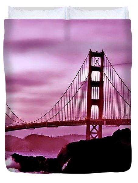 Nightfall At The Golden Gate Duvet Cover