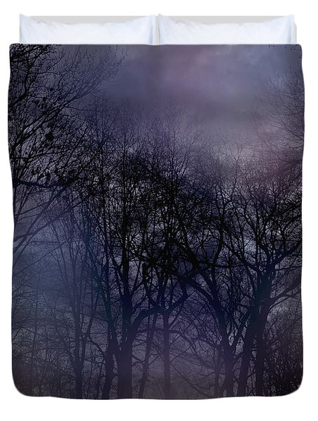 Nightfall In The Woods Duvet Cover by Sandy Moulder