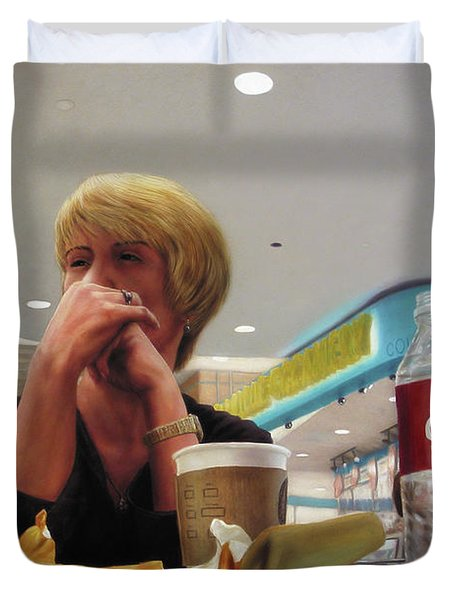 Nighthawks At The Foodcourt Duvet Cover by James W Johnson